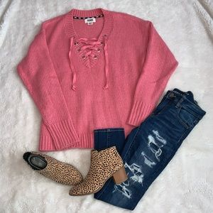 PINK Lace Up Chunky Sweater